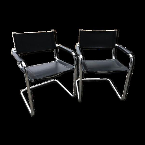 Ensemble de 2 fauteuils chromé italien, années 70