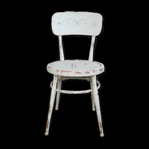 Ancienne chaise de salle à manger blanche style campagnard suédois 19e siècle