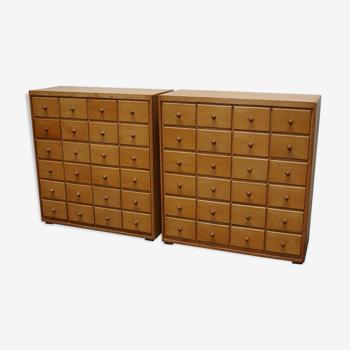 Paire de meubles d'apothicaire hollandais 20ème siècle