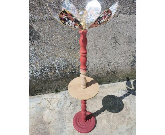 Lampadaire bois tourné et abat-jour fleur