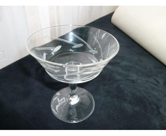 Set de 4 coupes à champagne vintage en verre meulé