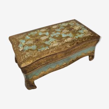 Boîte à bijoux florentine, sur pieds en bois doré made in Italy