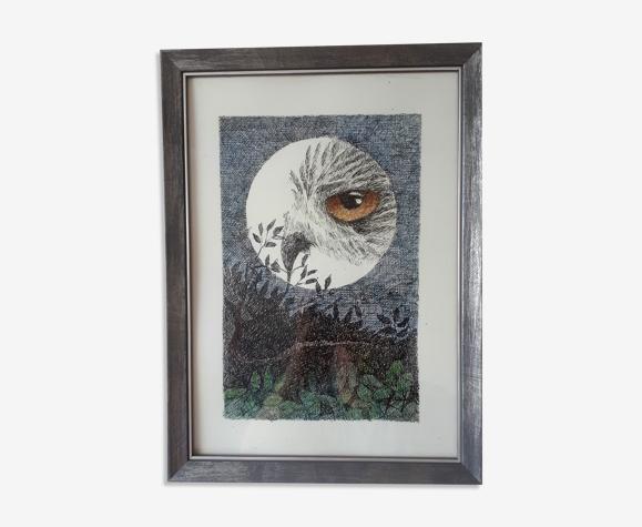 """""""oiseau de nuit"""" encre de chine et crayon couleur sur papier."""