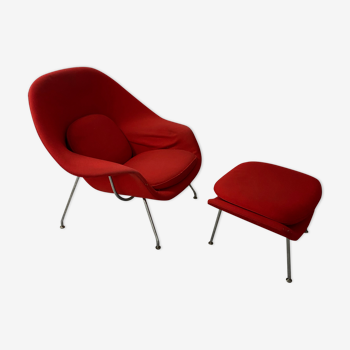 Fauteuil et ottoman Womb Chair d'Eero Saarinen édition Knoll International 1985