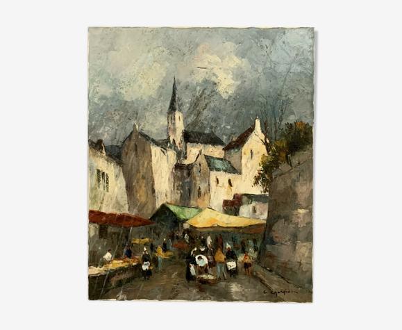 Huile sur toile figurant un marché a Paris Christophe Charpides (19091992)