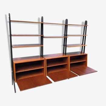 Vintage 8 étagère 3 cabinet système d'étagères en chêne du milieu du siècle, fabriqué en suède, années 1960
