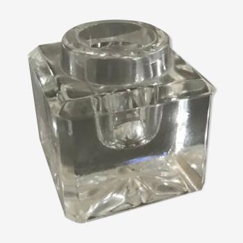 Bougeoir porte -bougie de table vintage en verre forme carré