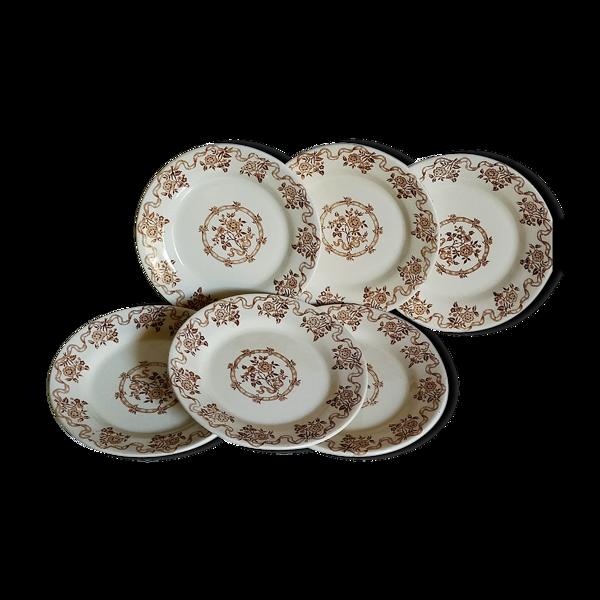 Six assiettes anciennes porcelaine opaque de gien, serviceosborne\
