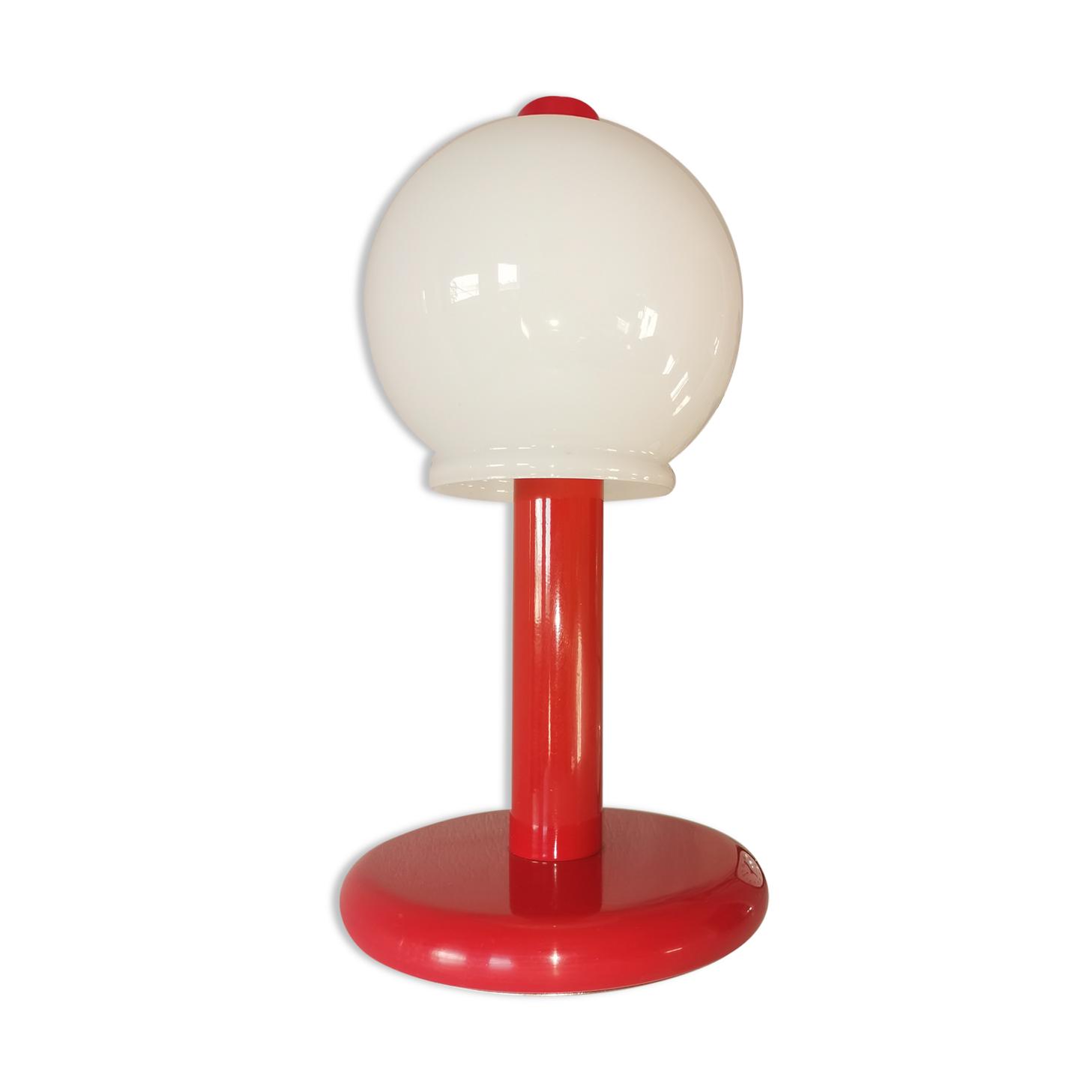 Lampe champignon en acier laqué et opaline, bubble gum, space age, 1970