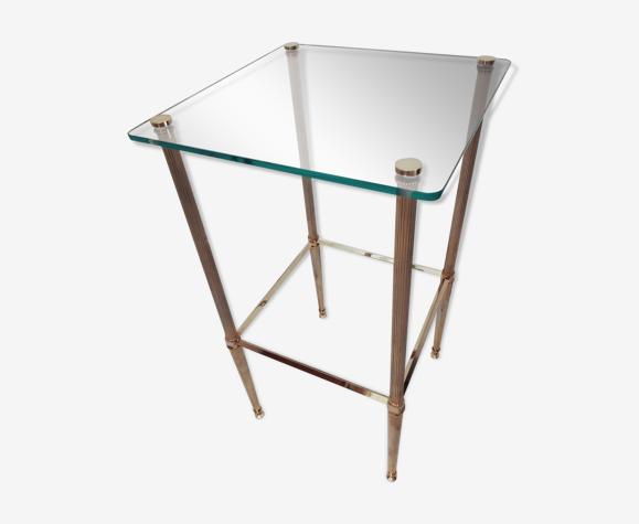 Bout de canapé ou table d'appoint laiton et verre