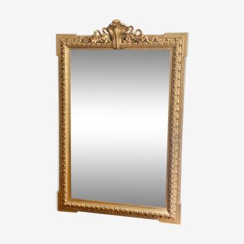 Miroir ancien Louis Philippe fronton doré cheminée 93x139cm