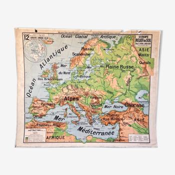 Carte scolaire :  12 - 12bis europe relief du sol vidal-lablache