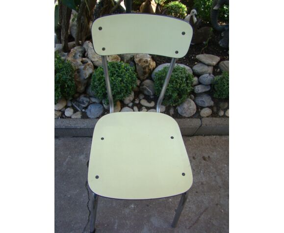 Chaise formica jaune vintage 60