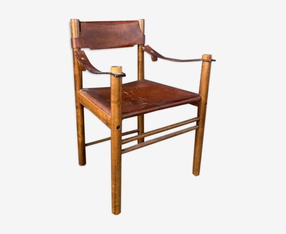 """Fauteuil """"ibisco"""" en bois et cuir Italie  1960"""