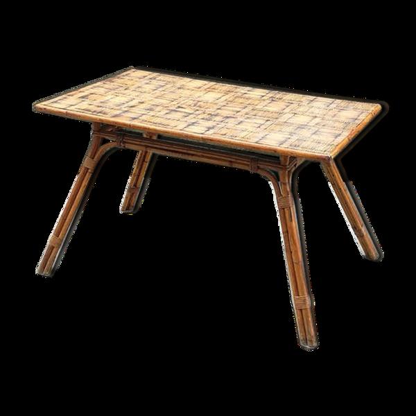 Table de salle à manger en rotin et bambou, 1960