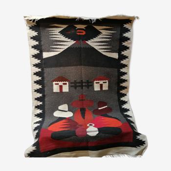 Tapis artisanal en laine d'Amérique du Sud