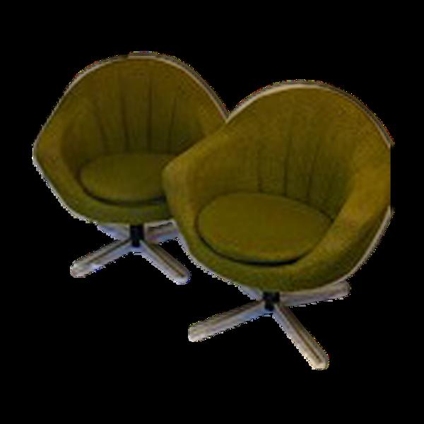 Paire de fauteuils hongrois pivotant