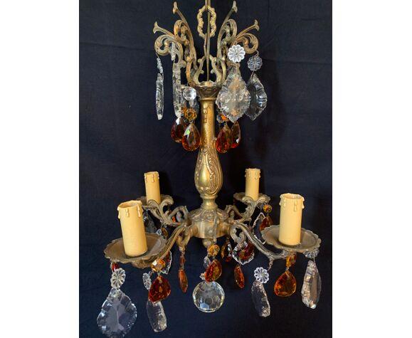 Lustre 4 lumières bronze et pampilles