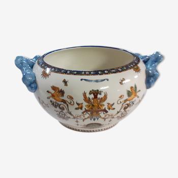 Cache pot gien décor renaissance blanc XIXeme