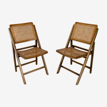 Chaises vintage cannées pliantes