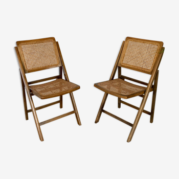 Folding cannate vintage chairs