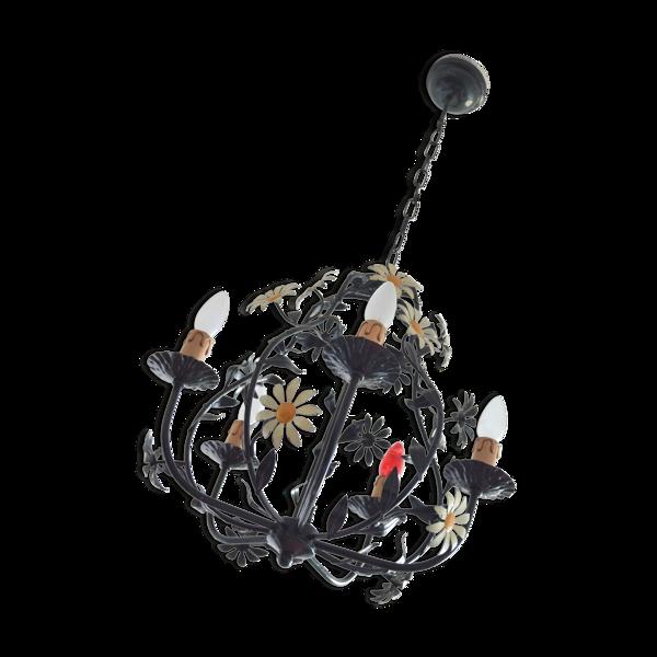 Lustre plafonnier design fleurs des années 60 art nouveau