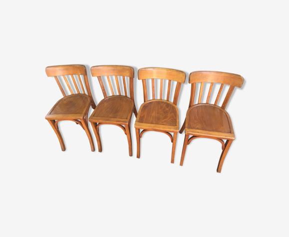 Lot de 4 chaises de bistrot Baumann vintage 1940
