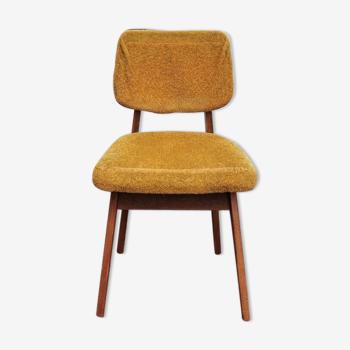 Chaise bois jaune velours année 60