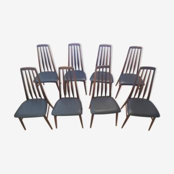 Suite de 8 chaises en Palissandre de Rio Modèle Eva Nils Koefods