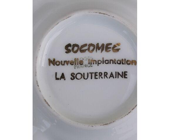 Cendrier Socomec en porcelaine de Limoges diam 10 cm