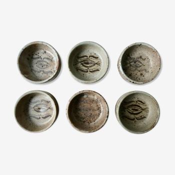 Lot de 6 coupelles en grès, signées Kerbigot, années 60