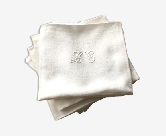 Set de 9 serviettes de table monogramme «L.C»