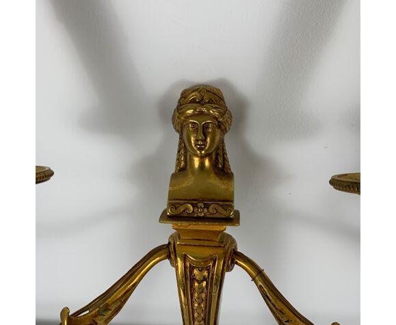 Paire d'appliques bronze doré vieil or Empire Décor cariatide