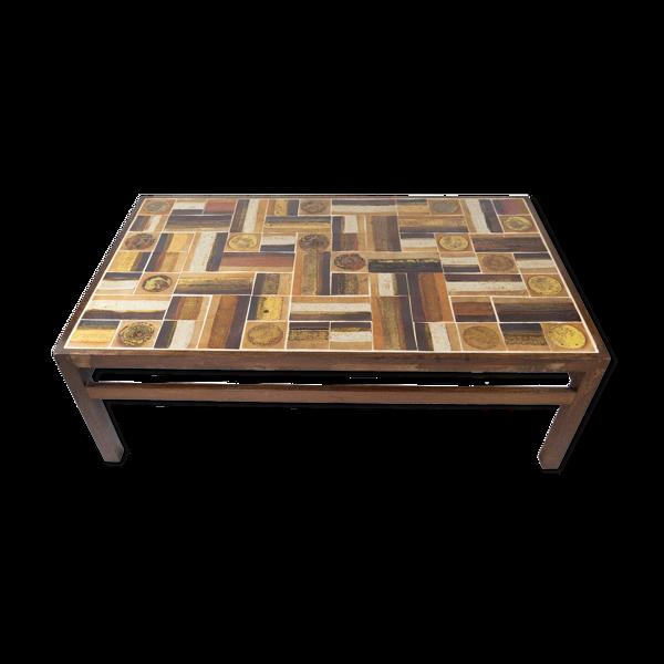 Selency Table basse en bois de rose et carreaux, conçue par Tue Poulsen des années 1970.