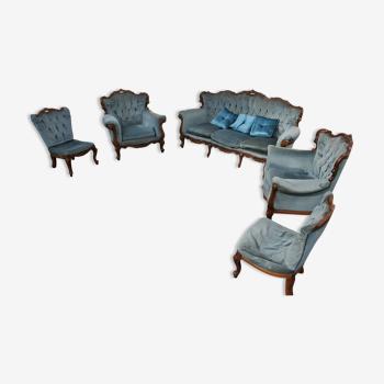 Salon en velours bleu