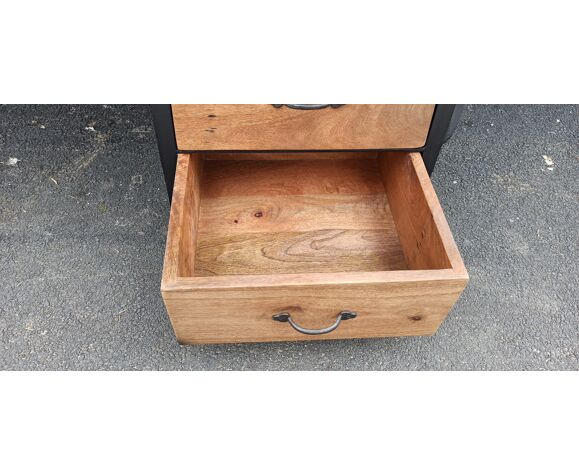 Wooden desk with metal base