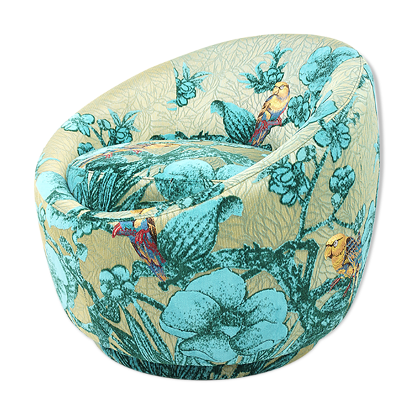 Fauteuil cocktail pivotant tissu turquoise aux perroquets