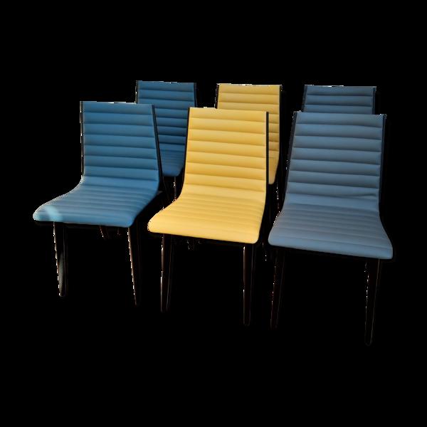 Suite de 6 chaises modernistes des années 80