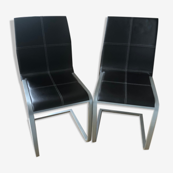 Lot de 2 chaises cuir