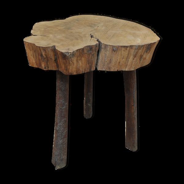 Table basse racine sur 3 pieds bois naturel  des années 1960
