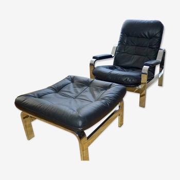 Fauteuil & ottoman cuir noir années 60/70