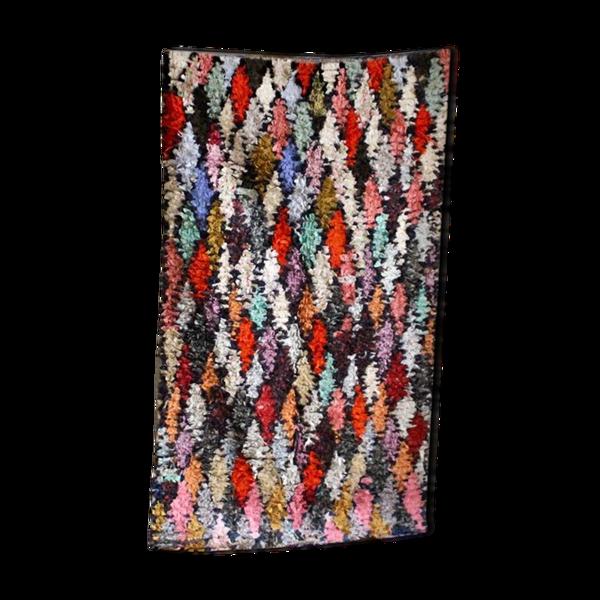 Tapis boucherouite arlequin noué main au Maroc 169x94cm