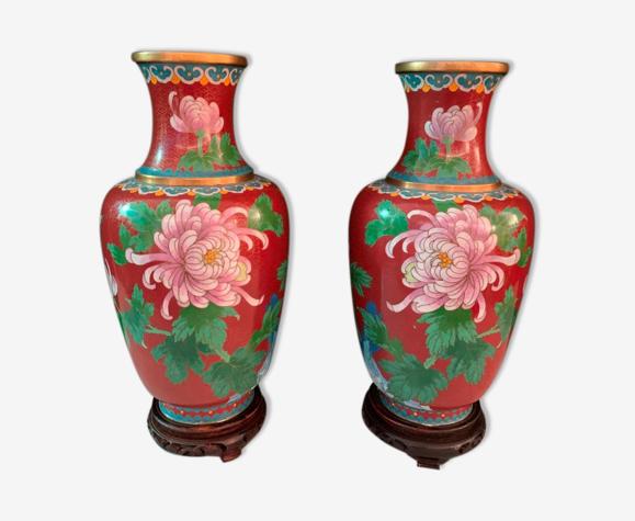 Vases cloisonnés chinois