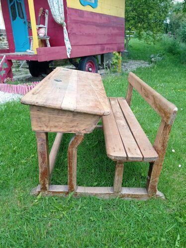 Pupitre double ancien bois