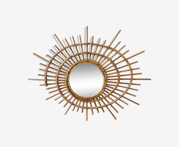 Miroir soleil en rotin forme de spyrale vintage 1960 65x55cm