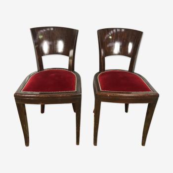 Paire de chaises époque Art Déco velours rouge