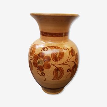 Vase céramique beige décor fleurs marron vintage