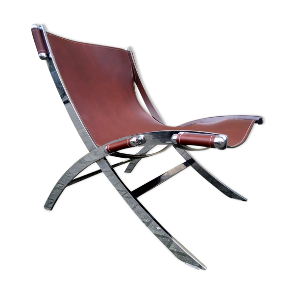 Selency Fauteui vintage années 80 acier et cuir vachette