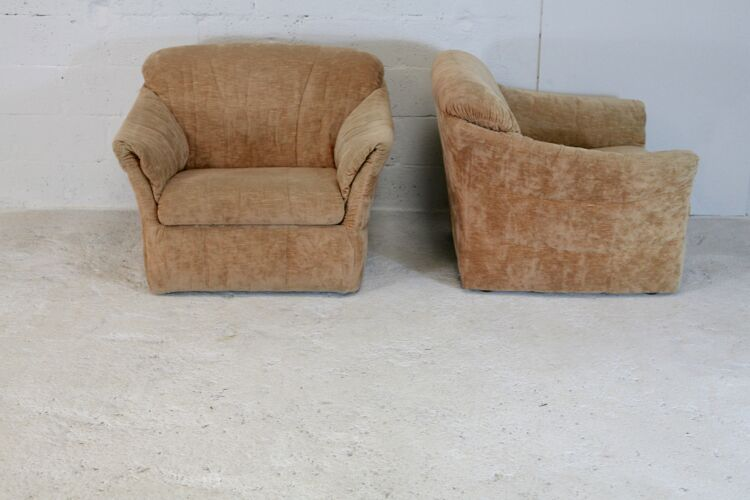 """Paire de fauteuil velours """"caramel blond"""", France, circa 1960"""