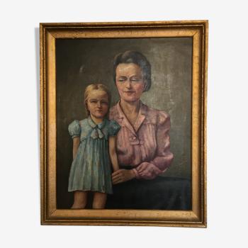 Tableau portrait mère et fille